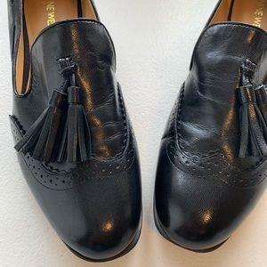 Nine West Shoes - Nine West Black Leather Tassel Slip On Loafer